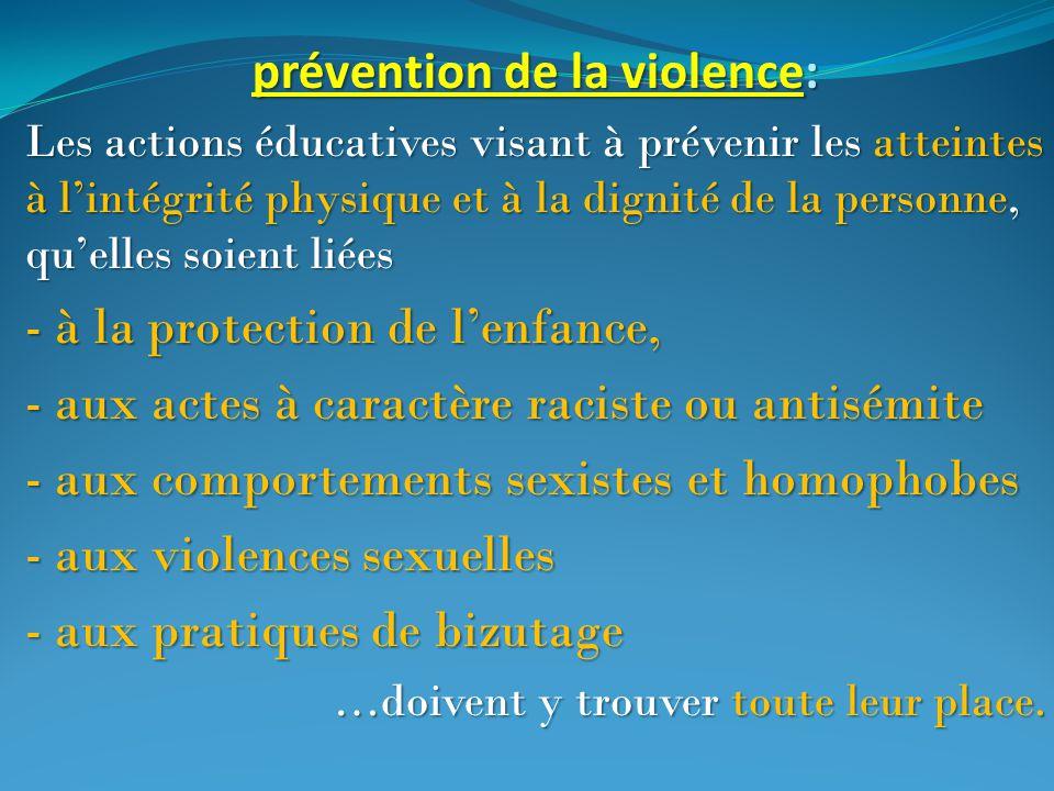 prévention de la violence: Les actions éducatives visant à prévenir les atteintes à l'intégrité physique et à la dignité de la personne, qu'elles soie