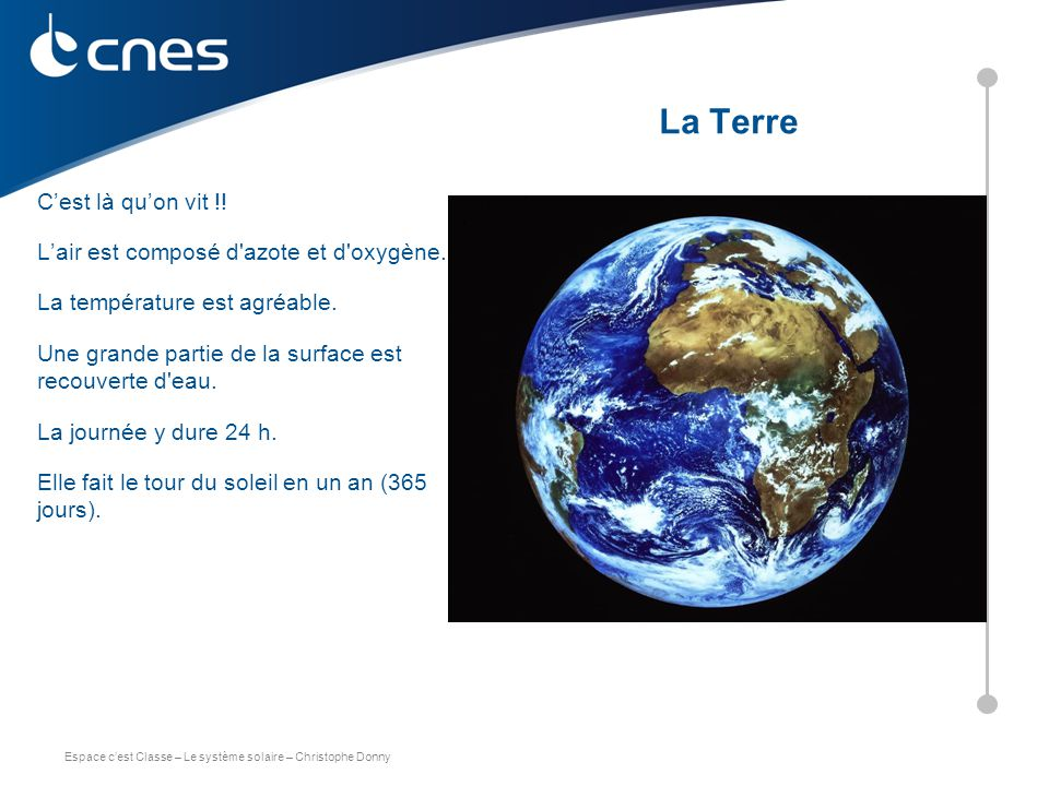 Espace c'est Classe – Le système solaire – Christophe Donny C'est là qu'on vit !! L'air est composé d'azote et d'oxygène. La température est agréable.