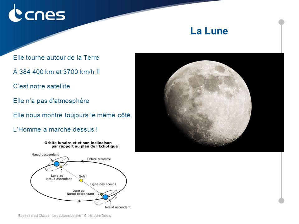 Espace c'est Classe – Le système solaire – Christophe Donny Elle tourne autour de la Terre À 384 400 km et 3700 km/h !! C'est notre satellite. Elle n'