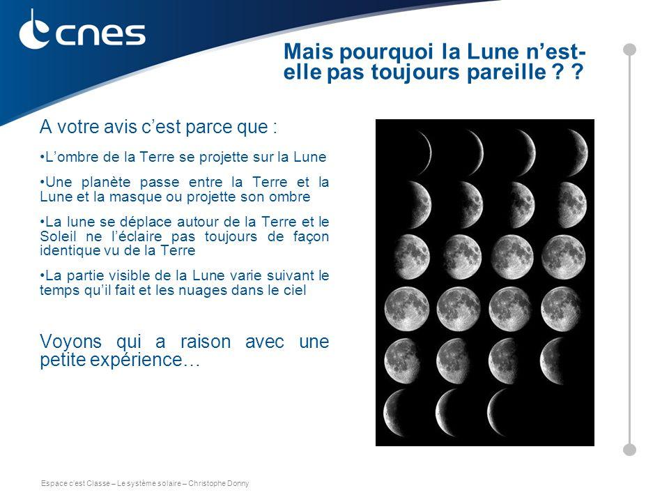 Espace c'est Classe – Le système solaire – Christophe Donny A votre avis c'est parce que : L'ombre de la Terre se projette sur la Lune Une planète pas