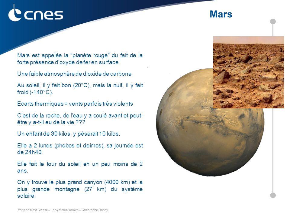 """Espace c'est Classe – Le système solaire – Christophe Donny Mars est appelée la """"planète rouge"""" du fait de la forte présence d'oxyde de fer en surface"""