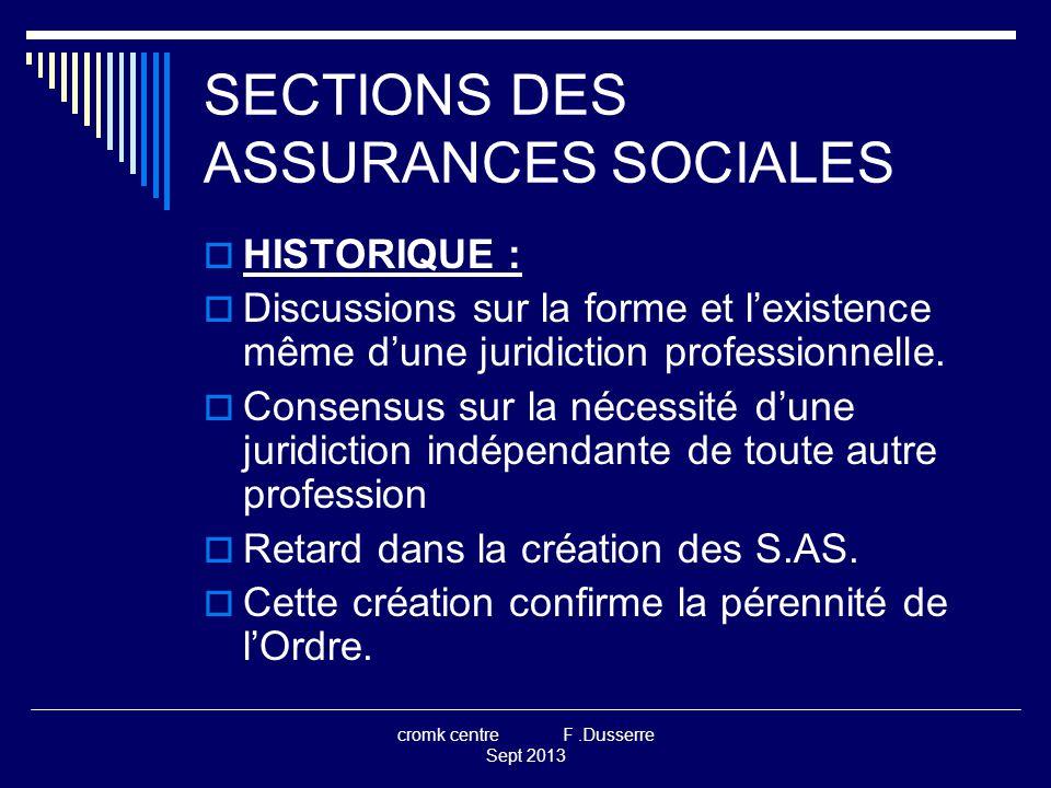 cromk centre F.Dusserre Sept 2013 SECTIONS DES ASSURANCES SOCIALES  HISTORIQUE :  Discussions sur la forme et l'existence même d'une juridiction professionnelle.
