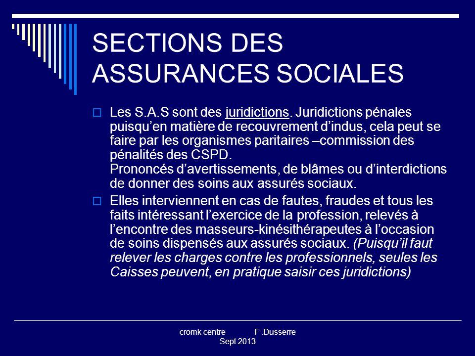 cromk centre F.Dusserre Sept 2013 SECTIONS DES ASSURANCES SOCIALES  Dans ce rôle elles remplacent pour les M.K.