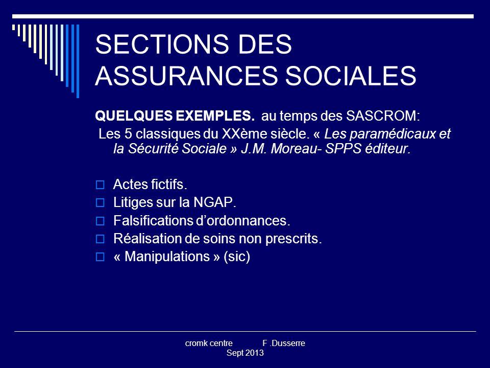 cromk centre F.Dusserre Sept 2013 SECTIONS DES ASSURANCES SOCIALES QUELQUES EXEMPLES.