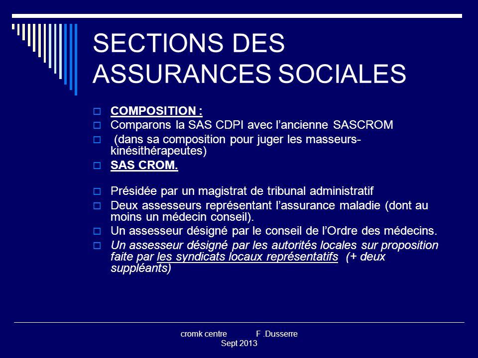 cromk centre F.Dusserre Sept 2013 SECTIONS DES ASSURANCES SOCIALES  SAS CDPI.