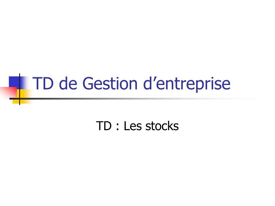 TD de Gestion d'entreprise TD : Les stocks