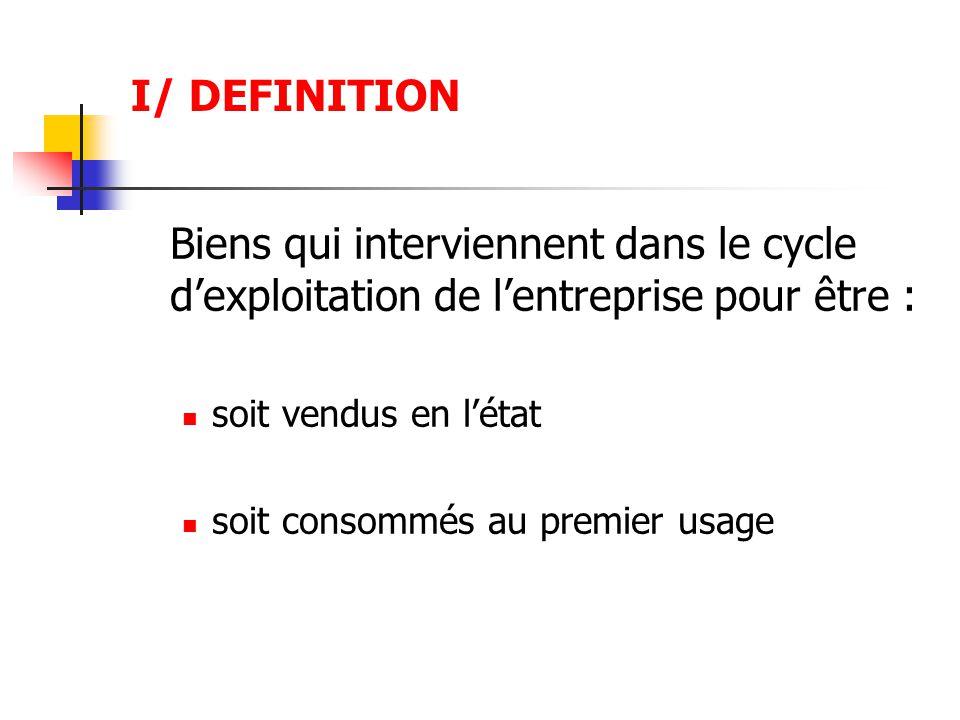 I/ DEFINITION Biens qui interviennent dans le cycle d'exploitation de l'entreprise pour être : soit vendus en l'état soit consommés au premier usage
