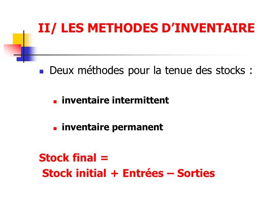 II/ LES METHODES D'INVENTAIRE Deux méthodes pour la tenue des stocks : inventaire intermittent inventaire permanent Stock final = Stock initial + Entr