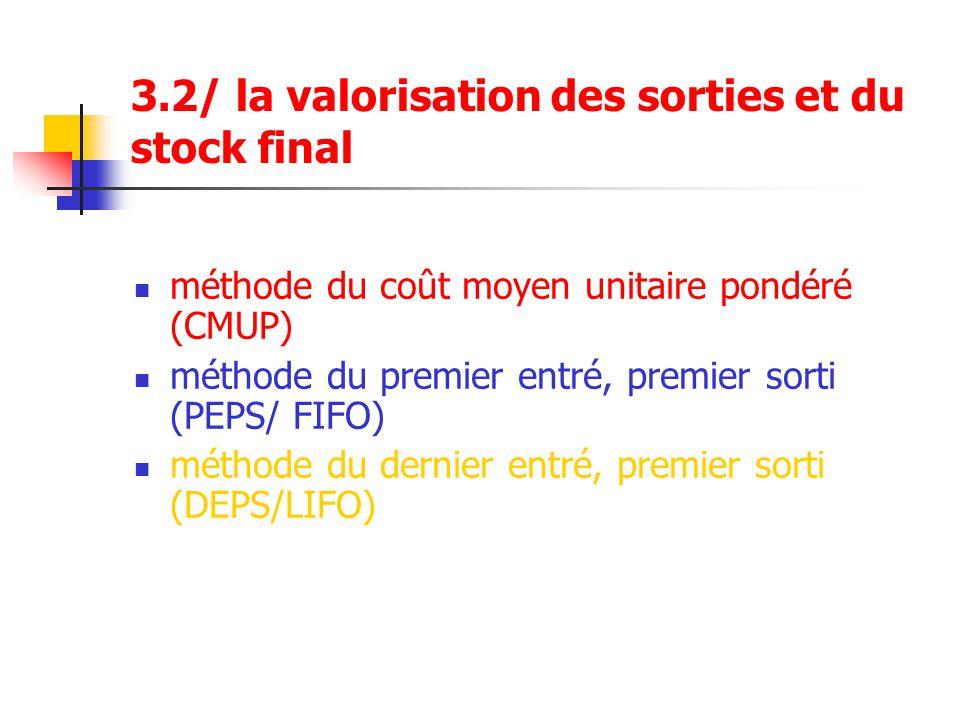 3.2/ la valorisation des sorties et du stock final méthode du coût moyen unitaire pondéré (CMUP) méthode du premier entré, premier sorti (PEPS/ FIFO)