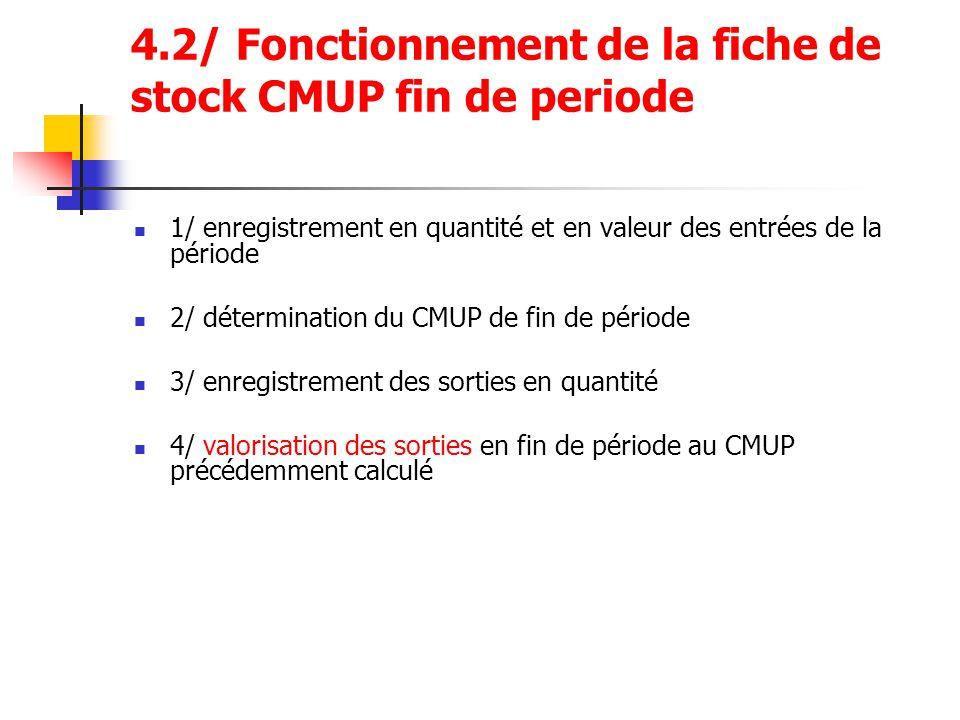 4.2/ Fonctionnement de la fiche de stock CMUP fin de periode 1/ enregistrement en quantité et en valeur des entrées de la période 2/ détermination du