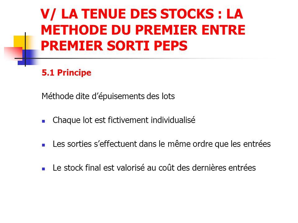V/ LA TENUE DES STOCKS : LA METHODE DU PREMIER ENTRE PREMIER SORTI PEPS 5.1 Principe Méthode dite d'épuisements des lots Chaque lot est fictivement in