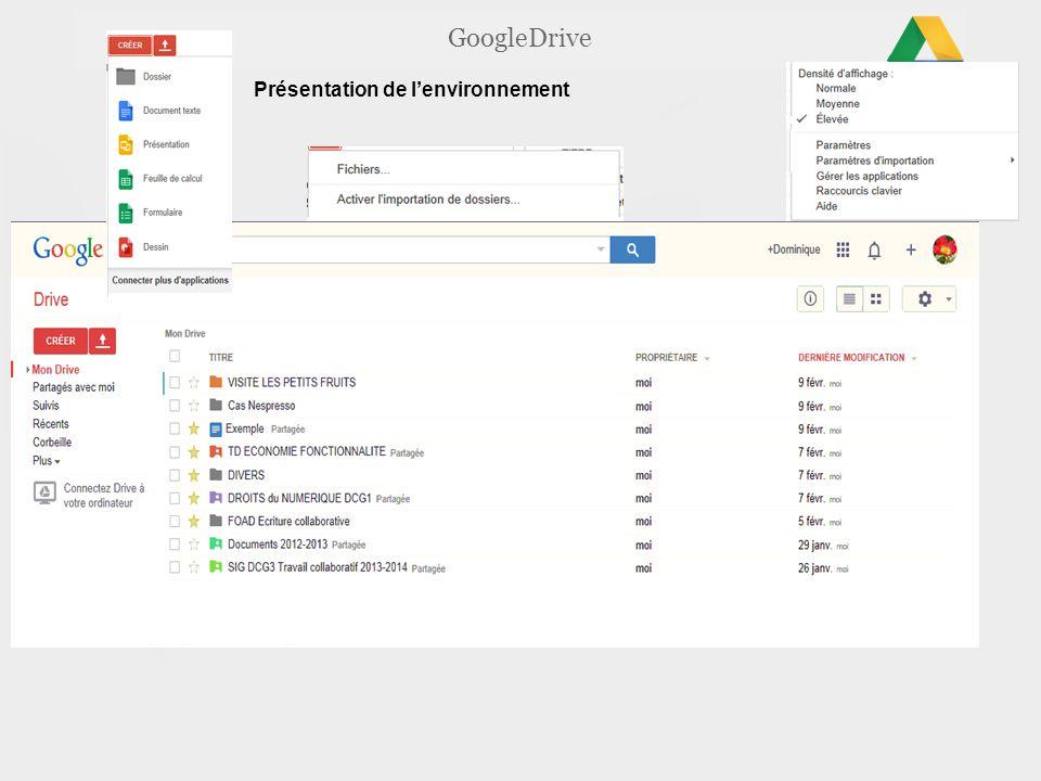 GoogleDrive Présentation de l'environnement