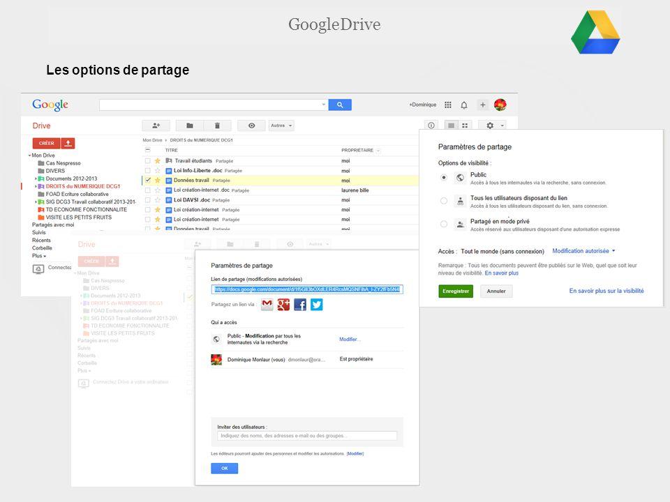 GoogleDrive Les options de partage