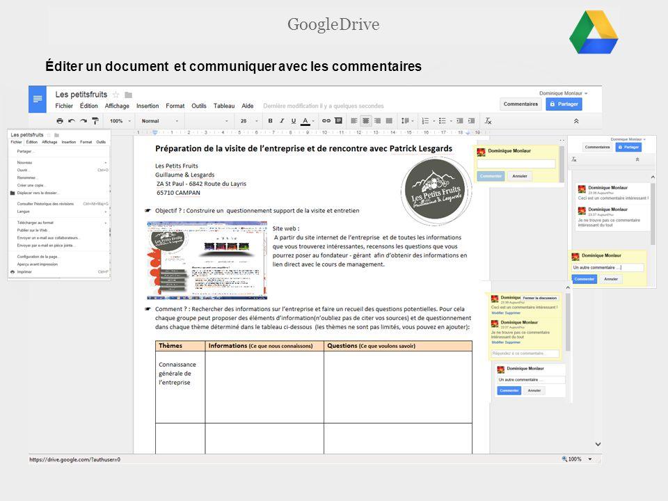 GoogleDrive Éditer un document et communiquer avec les commentaires