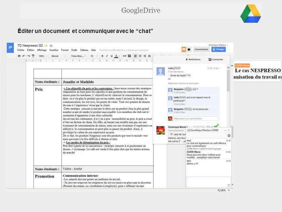 GoogleDrive Éditer un document et communiquer avec le chat