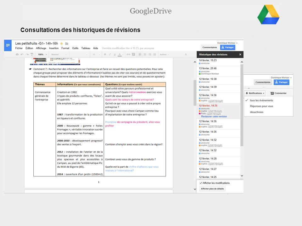 GoogleDrive Consultations des historiques de révisions