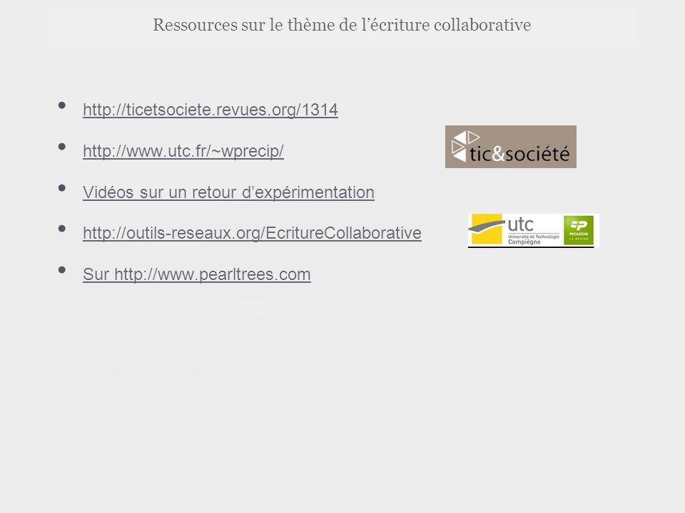 Ressources sur le thème de l'écriture collaborative http://ticetsociete.revues.org/1314 http://www.utc.fr/~wprecip/ Vidéos sur un retour d'expérimentation http://outils-reseaux.org/EcritureCollaborative Sur http://www.pearltrees.com