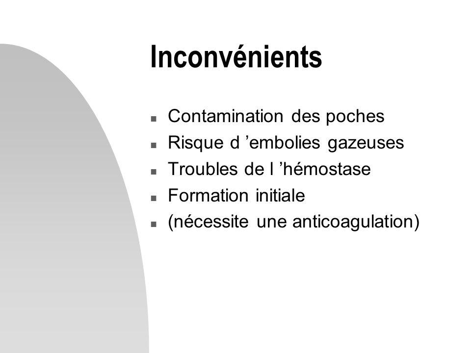 Inconvénients n Contamination des poches n Risque d 'embolies gazeuses n Troubles de l 'hémostase n Formation initiale n (nécessite une anticoagulation)