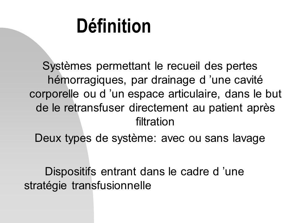 Définition Systèmes permettant le recueil des pertes hémorragiques, par drainage d 'une cavité corporelle ou d 'un espace articulaire, dans le but de