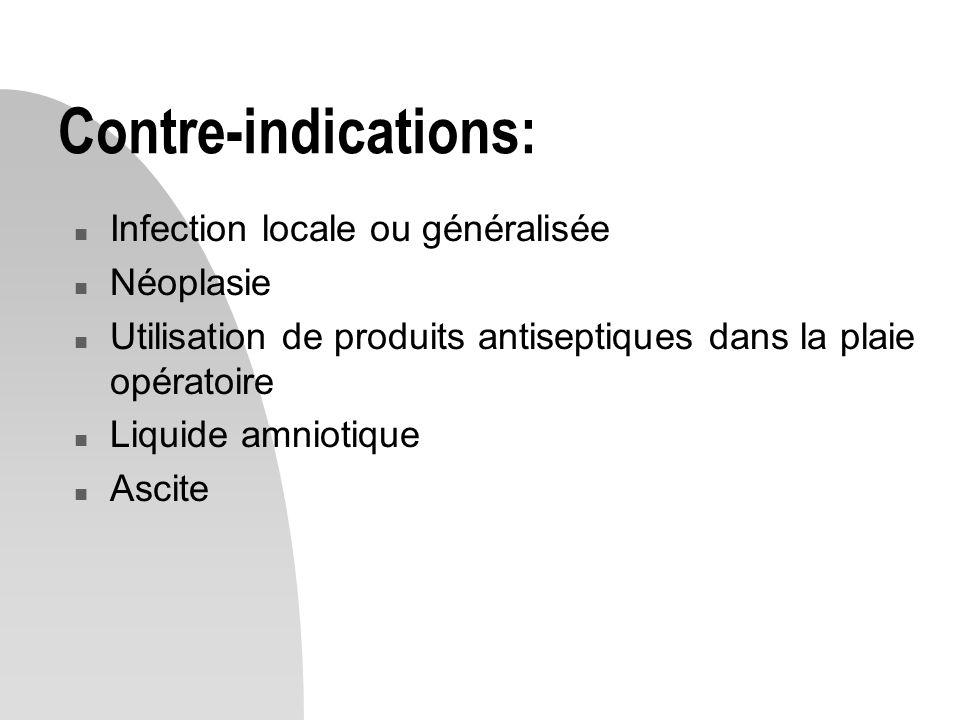 Contre-indications: n Infection locale ou généralisée n Néoplasie n Utilisation de produits antiseptiques dans la plaie opératoire n Liquide amniotique n Ascite