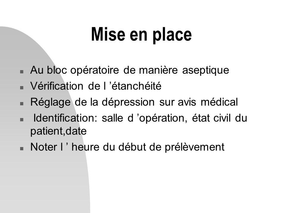 Mise en place n Au bloc opératoire de manière aseptique n Vérification de l 'étanchéité n Réglage de la dépression sur avis médical n Identification: