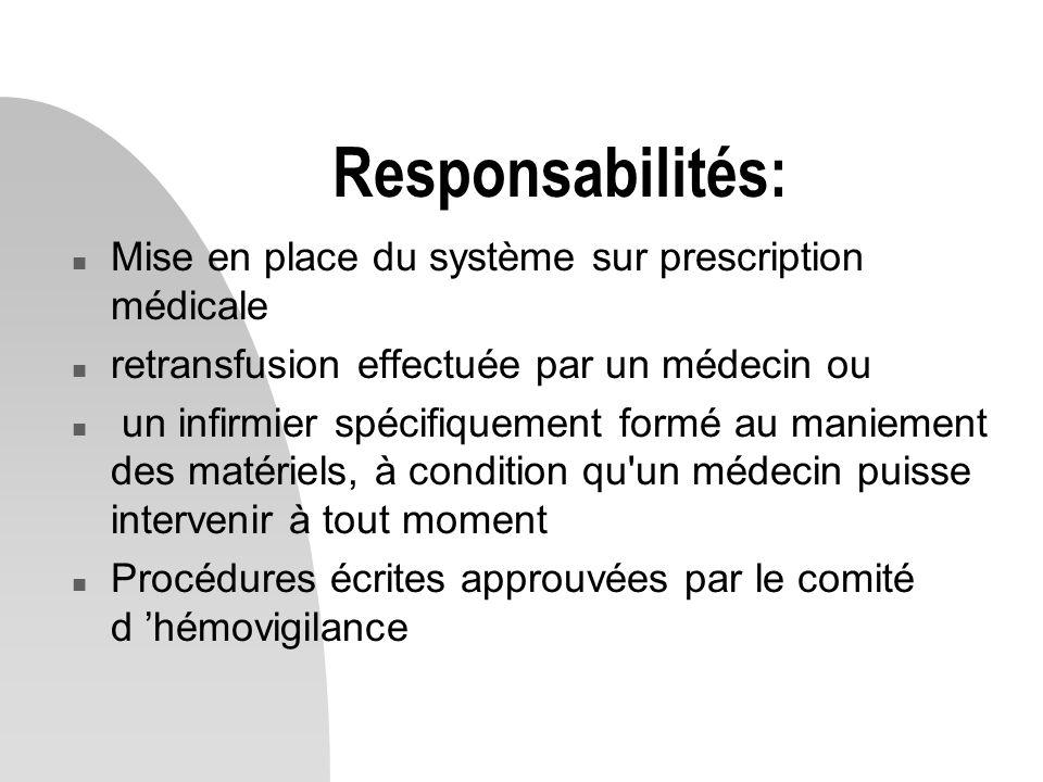 Responsabilités: n Mise en place du système sur prescription médicale n retransfusion effectuée par un médecin ou n un infirmier spécifiquement formé au maniement des matériels, à condition qu un médecin puisse intervenir à tout moment n Procédures écrites approuvées par le comité d 'hémovigilance