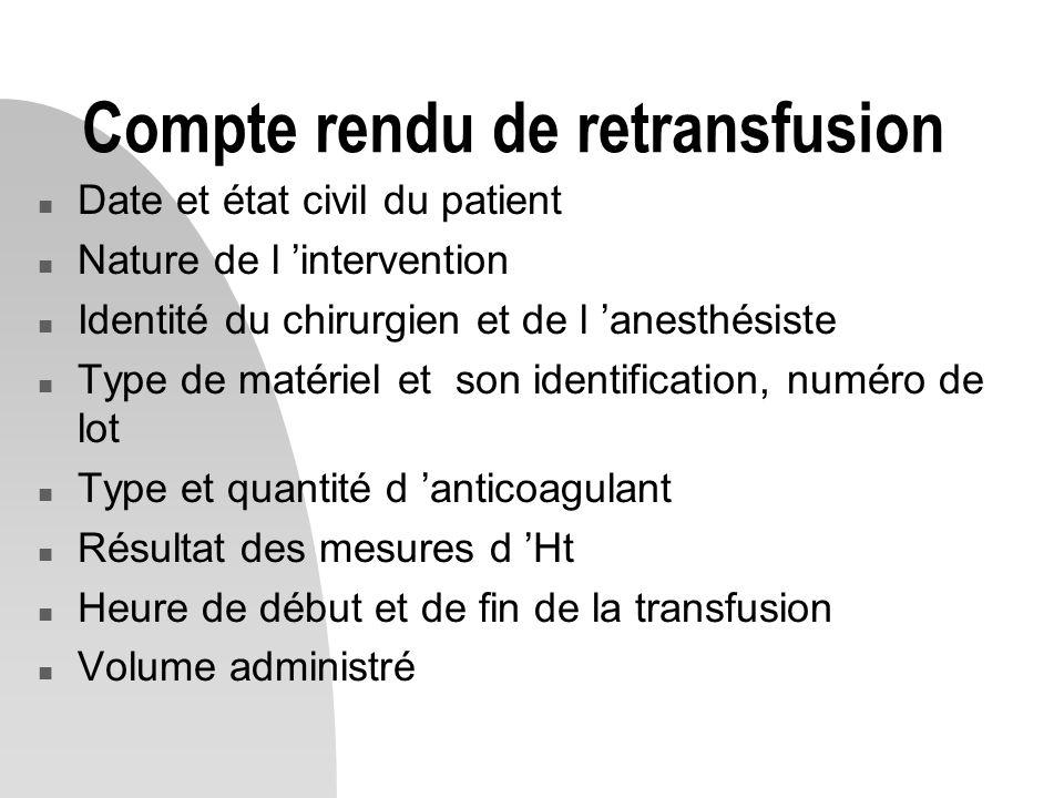 Compte rendu de retransfusion n Date et état civil du patient n Nature de l 'intervention n Identité du chirurgien et de l 'anesthésiste n Type de mat