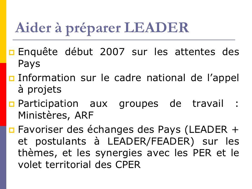Aider à préparer LEADER  Enquête début 2007 sur les attentes des Pays  Information sur le cadre national de l'appel à projets  Participation aux gr
