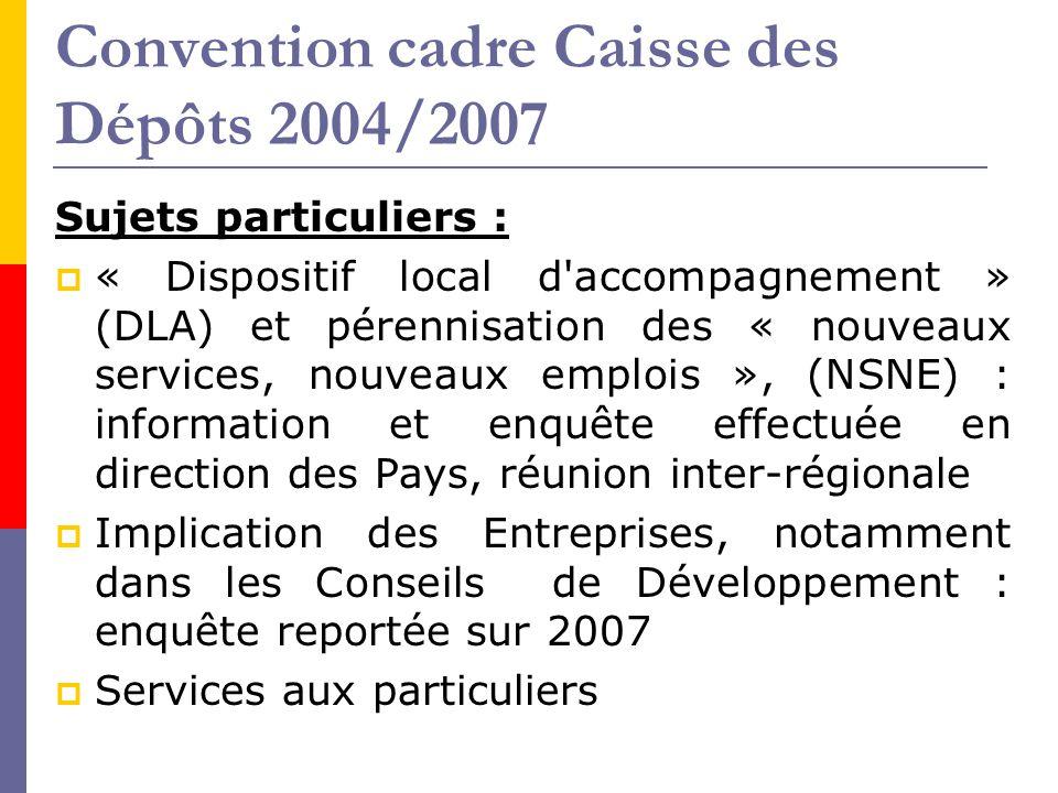 Convention cadre Caisse des Dépôts 2004/2007 Sujets particuliers :  « Dispositif local d'accompagnement » (DLA) et pérennisation des « nouveaux servi