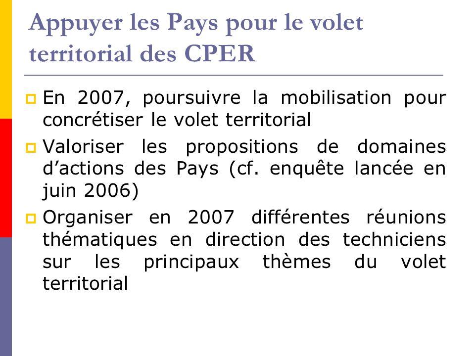 Appuyer les Pays pour le volet territorial des CPER  En 2007, poursuivre la mobilisation pour concrétiser le volet territorial  Valoriser les propos