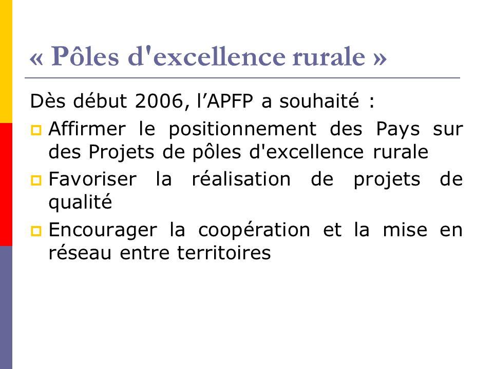 « Pôles d excellence rurale »  3 réunions d'information et d'échanges en 2006, partenariat avec l'INDL et avec la Fédération des Parcs  Programme de travail 2007 avec l'INDL pour accompagner les Pays/PER, annoncé à l'issue de la rencontre d'Agen de juillet : réunion sur la mise en œuvre, 1 er semestre 2007 rassemblement des PER, début de l'automne 2007  Recherches particulières envisagées avec Mairie Conseils, sur les « partenariats public- privé »…