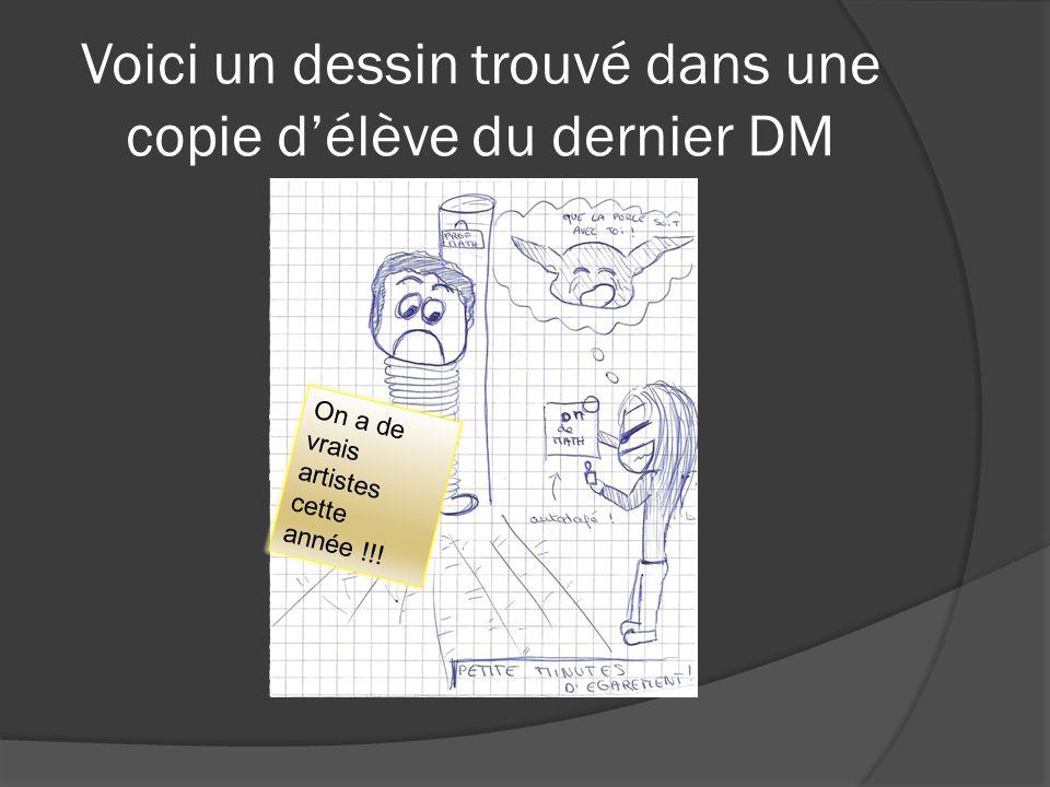 Voici un dessin trouvé dans une copie d'élève du dernier DM On a de vrais artistes cette année !!!