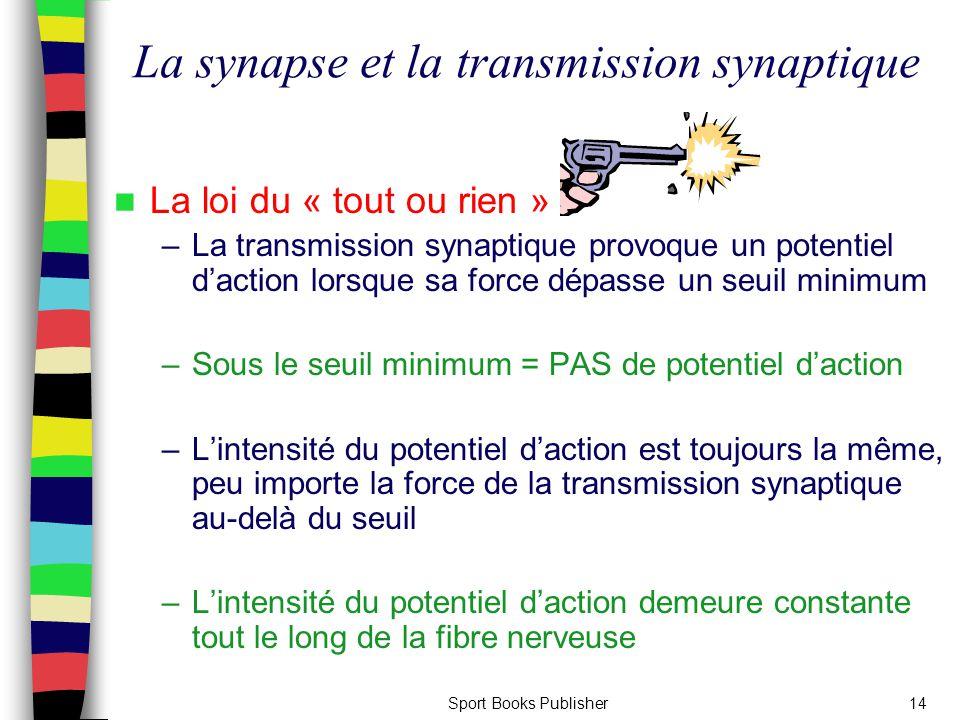 Sport Books Publisher14 La loi du « tout ou rien » –La transmission synaptique provoque un potentiel d'action lorsque sa force dépasse un seuil minimu
