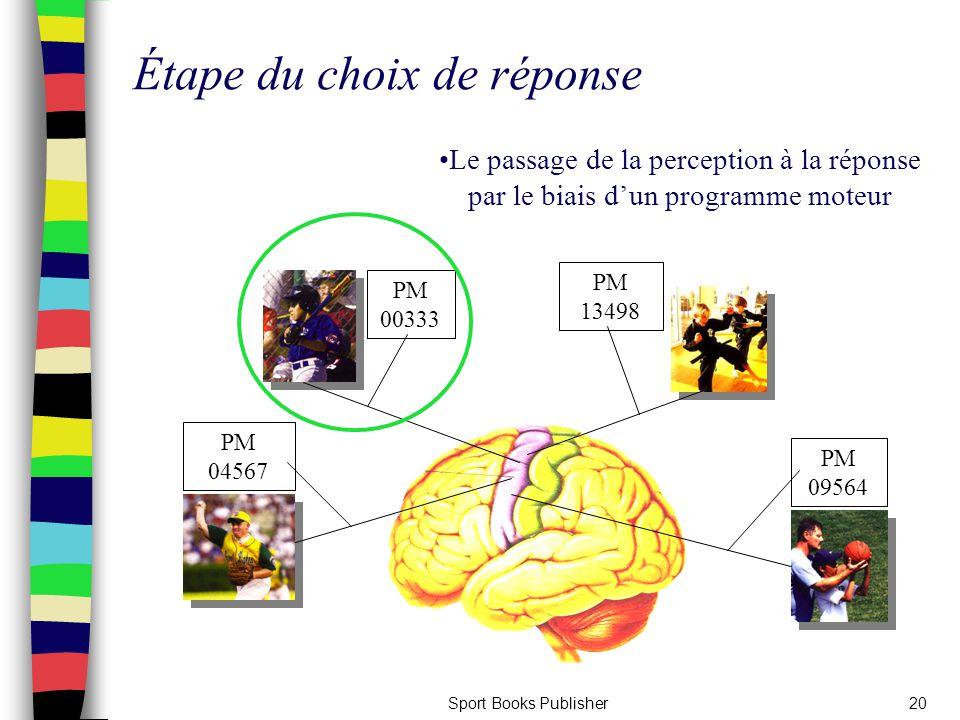 Sport Books Publisher20 Étape du choix de réponse Le passage de la perception à la réponse par le biais d'un programme moteur PM 09564 PM 00333 PM 045