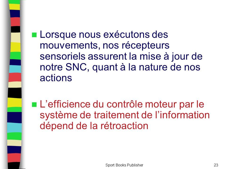 Sport Books Publisher23 Lorsque nous exécutons des mouvements, nos récepteurs sensoriels assurent la mise à jour de notre SNC, quant à la nature de no