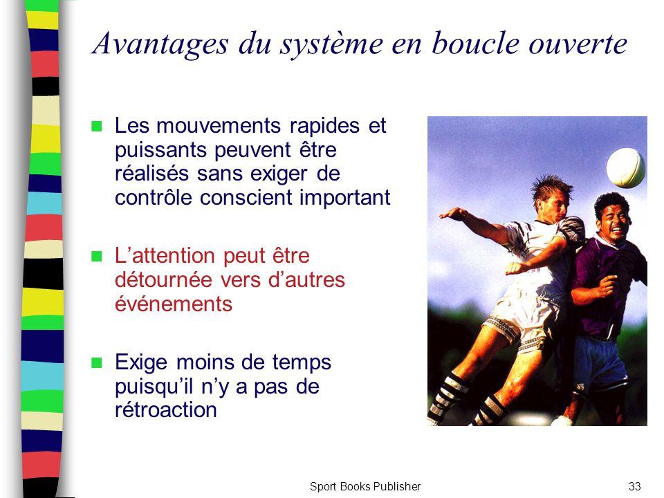 Sport Books Publisher33 Avantages du système en boucle ouverte Les mouvements rapides et puissants peuvent être réalisés sans exiger de contrôle consc