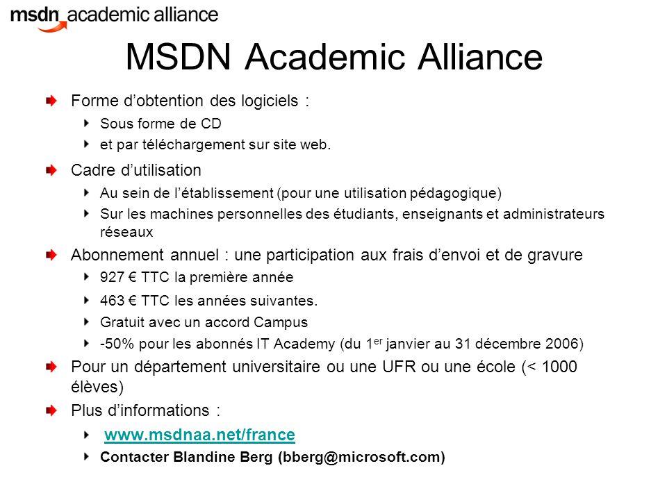 MSDN Academic Alliance Forme d'obtention des logiciels : Sous forme de CD et par téléchargement sur site web.