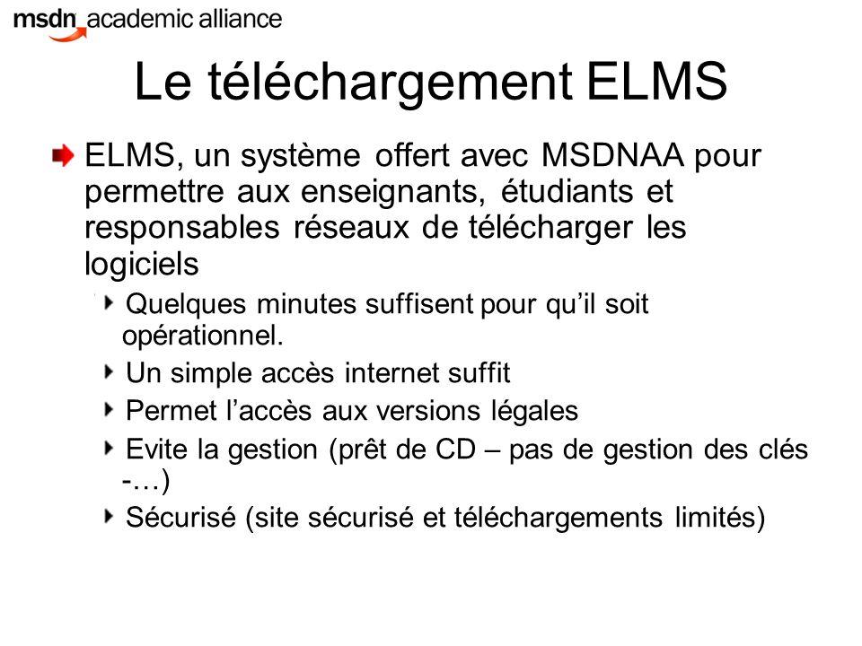 Le téléchargement ELMS ELMS, un système offert avec MSDNAA pour permettre aux enseignants, étudiants et responsables réseaux de télécharger les logiciels Quelques minutes suffisent pour qu'il soit opérationnel.