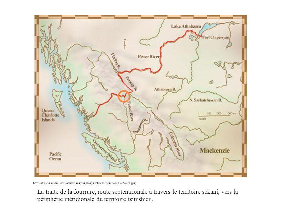 http://itre.cis.upenn.edu/~myl/languagelog/archives/MacKenzieRoute.jpg La traite de la fourrure, route septentrionale à travers le territoire sekani,