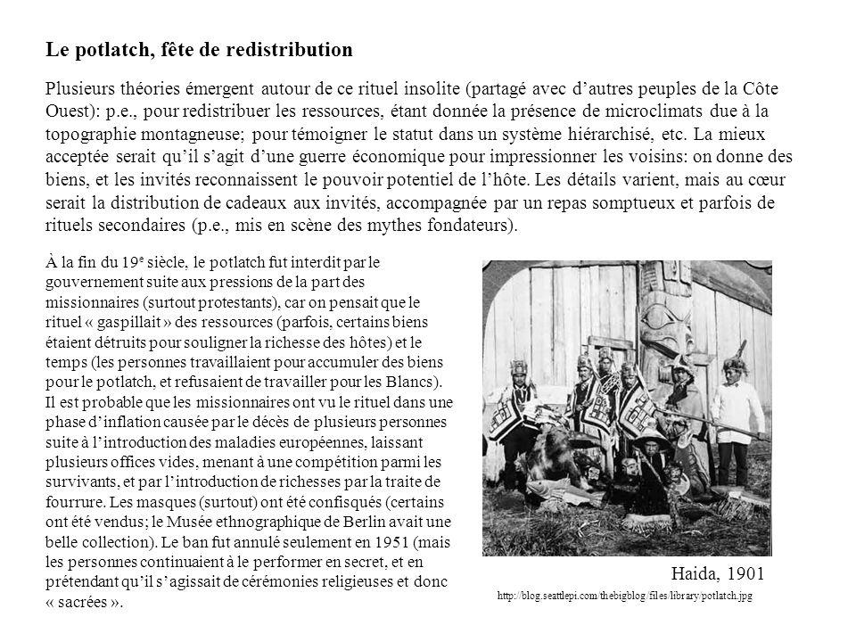 Le potlatch, fête de redistribution Plusieurs théories émergent autour de ce rituel insolite (partagé avec d'autres peuples de la Côte Ouest): p.e., p
