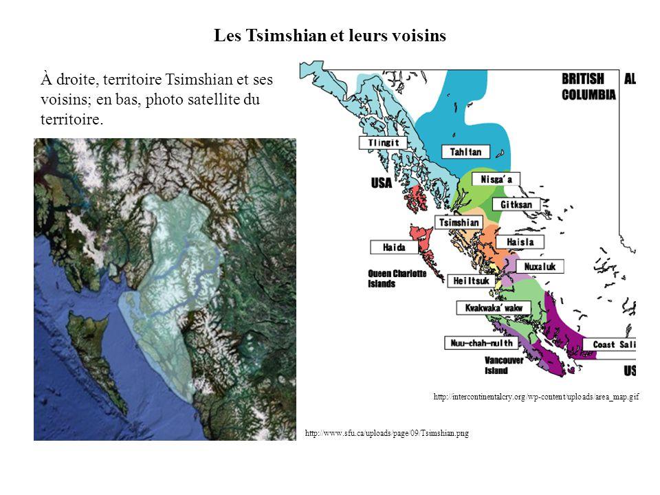 http://www.sfu.ca/uploads/page/09/Tsimshian.png Les Tsimshian et leurs voisins http://intercontinentalcry.org/wp-content/uploads/area_map.gif À droite