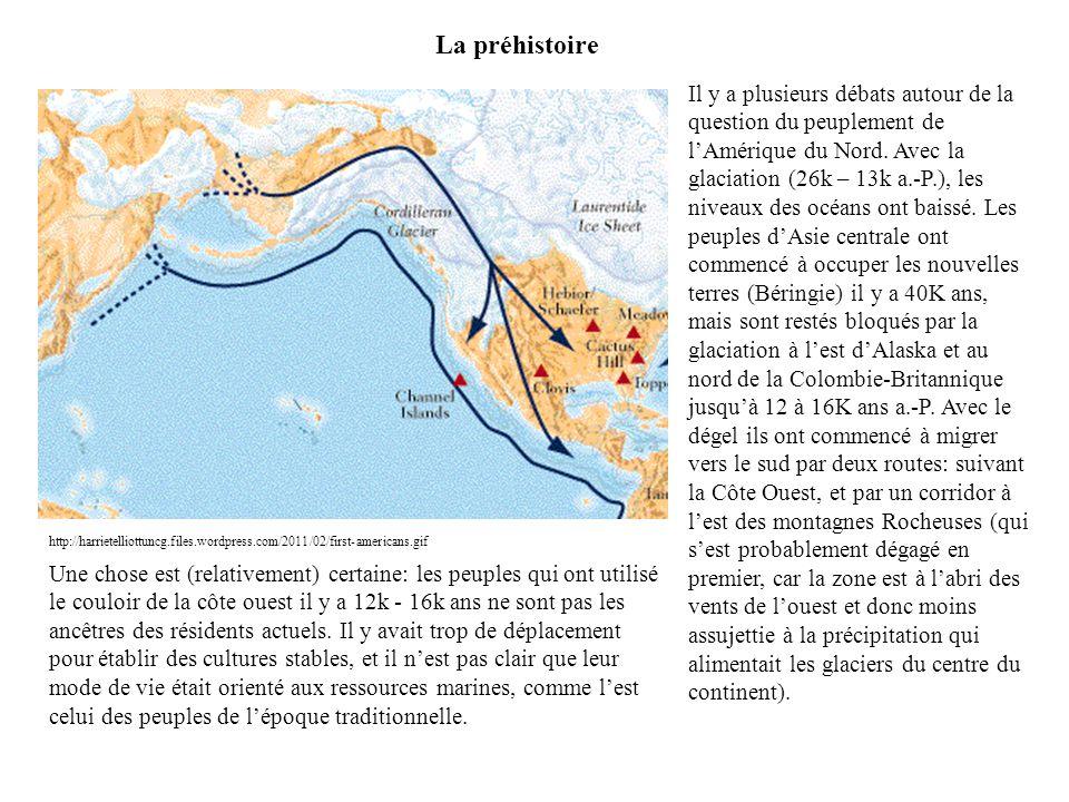 La préhistoire Il y a plusieurs débats autour de la question du peuplement de l'Amérique du Nord. Avec la glaciation (26k – 13k a.-P.), les niveaux de