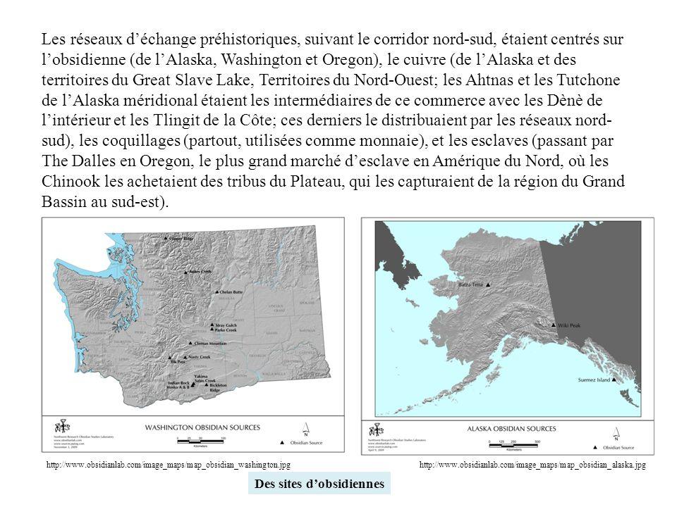 Les réseaux d'échange préhistoriques, suivant le corridor nord-sud, étaient centrés sur l'obsidienne (de l'Alaska, Washington et Oregon), le cuivre (d