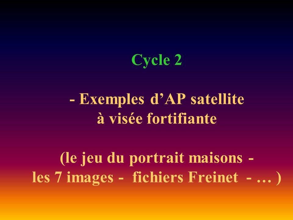 Cycle 2 - Exemples d'AP satellite à visée fortifiante (le jeu du portrait maisons - les 7 images - fichiers Freinet - … )