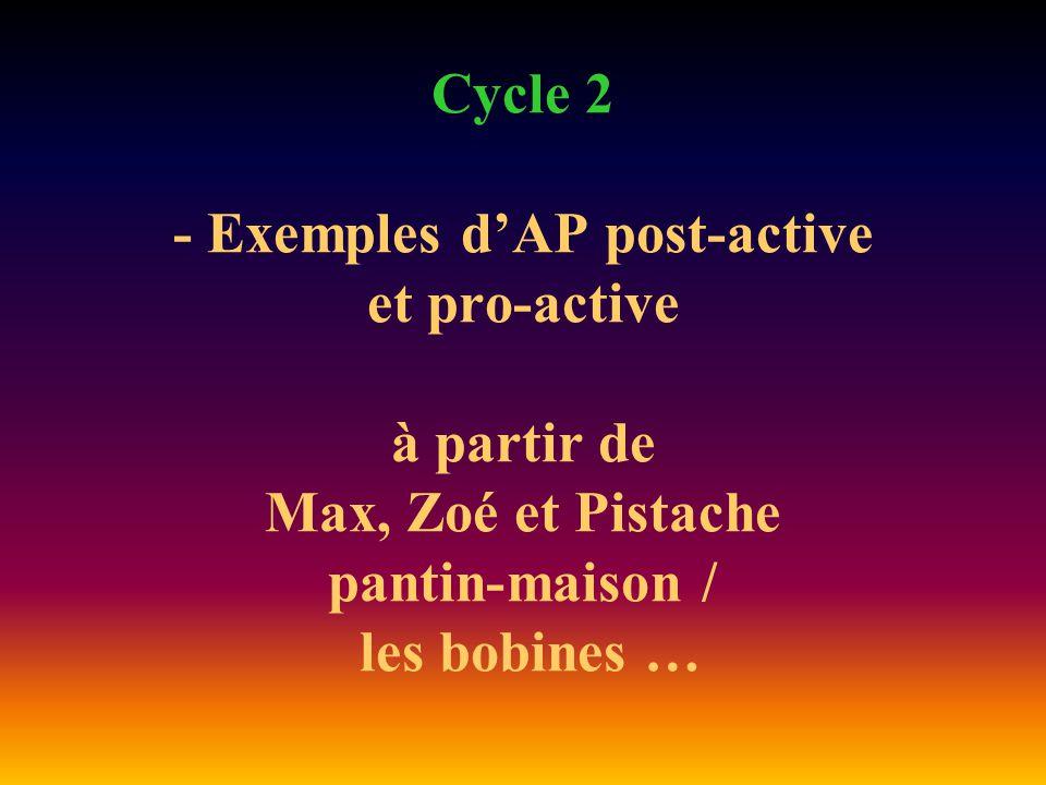 Cycle 2 - Exemples d'AP post-active et pro-active à partir de Max, Zoé et Pistache pantin-maison / les bobines …