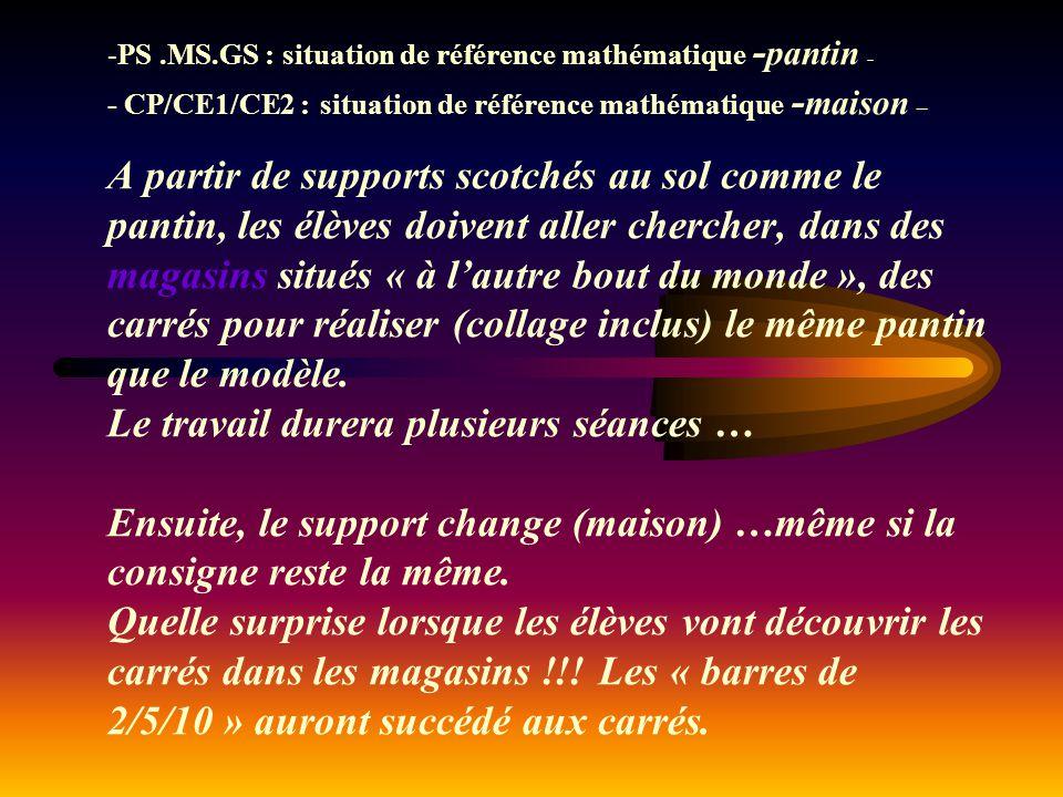 -PS.MS.GS : situation de référence mathématique - pantin - - CP/CE1/CE2 :situation de référence mathématique - maison – A partir de supports scotchés