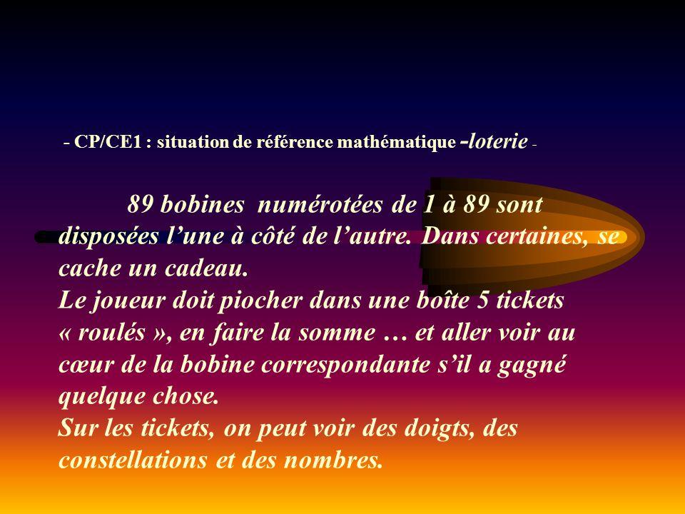 - CP/CE1 : situation de référence mathématique - loterie - 89 bobines numérotées de 1 à 89 sont disposées l'une à côté de l'autre. Dans certaines, se