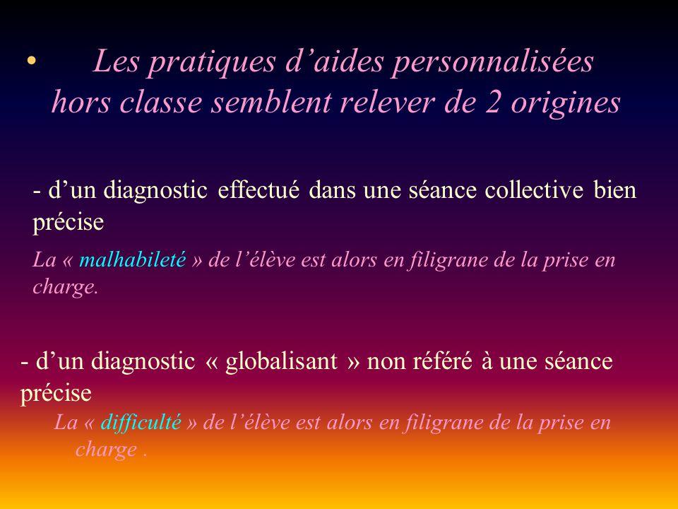 Les pratiques d'aides personnalisées hors classe semblent relever de 2 origines - d'un diagnostic effectué dans une séance collective bien précise La