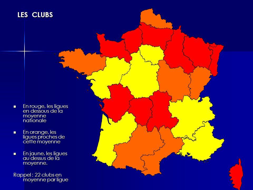 En rouge, les ligues en dessous de la moyenne nationale En rouge, les ligues en dessous de la moyenne nationale En orange, les ligues proches de cette moyenne En orange, les ligues proches de cette moyenne En jaune, les ligues au dessus de la moyenne.