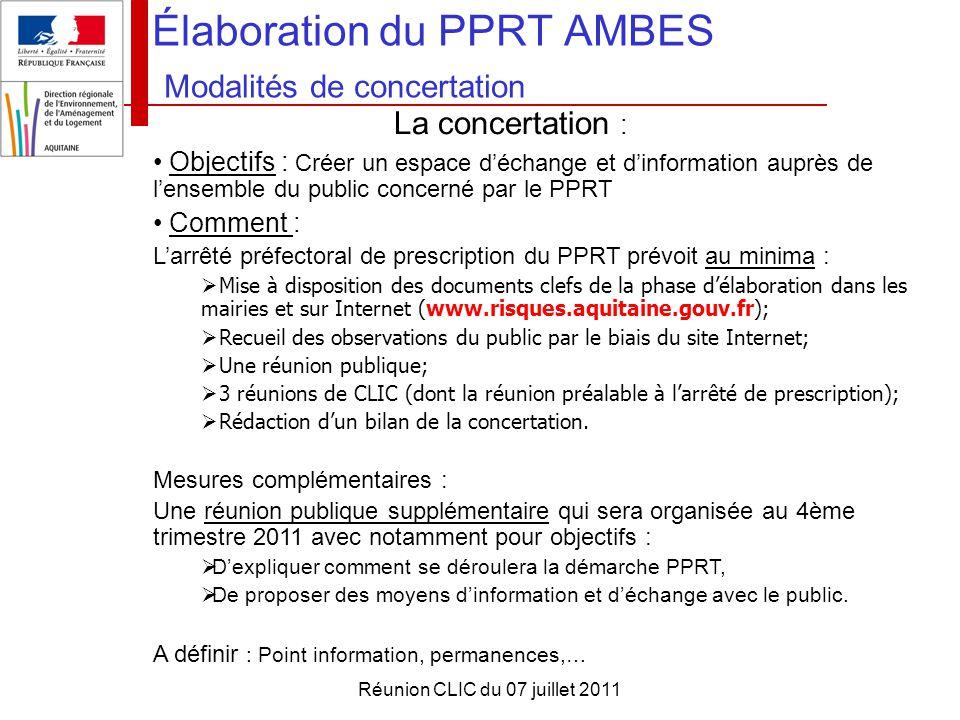 Réunion CLIC du 07 juillet 2011 Élaboration du PPRT AMBES Modalités de concertation La concertation : Objectifs : Créer un espace d'échange et d'infor